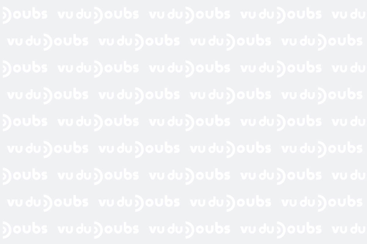 Logo du magazine Vu du Doubs répété sur fond gris
