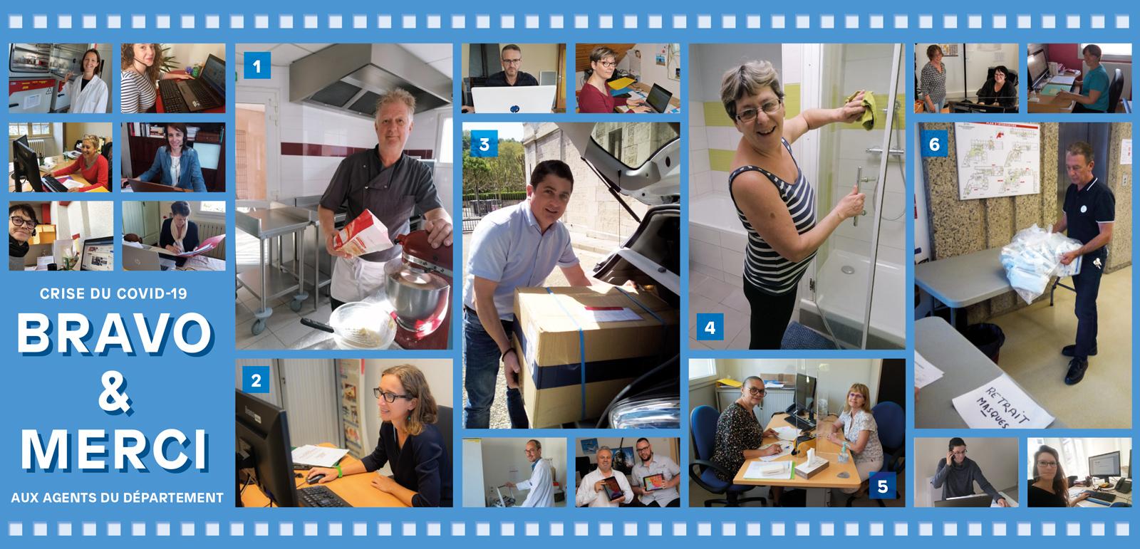 Patchwork de photos d'une sélection d'agents mobilisés face à la crise du coronavirus